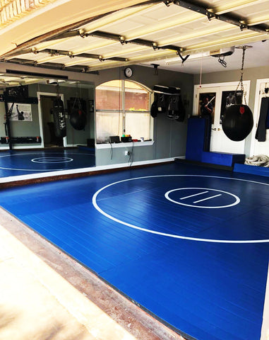 Garage Gym Throw Down Wrestling Mat  Blue with White Circles and Starting Lines