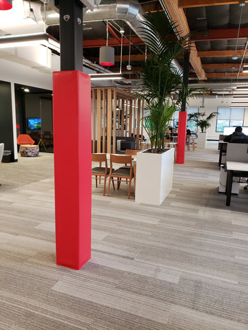 indoor column post pads in an office