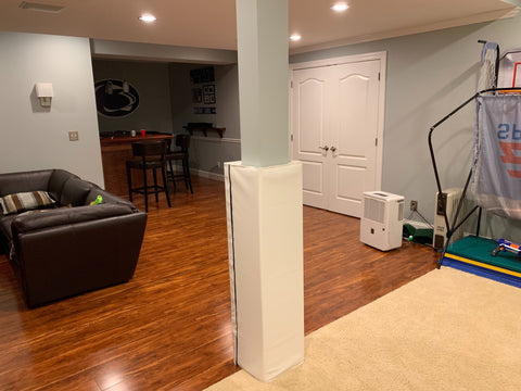 pure white column pad in home playroom