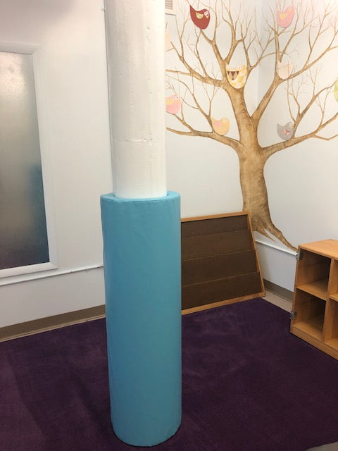 blue daycare pole safety cover