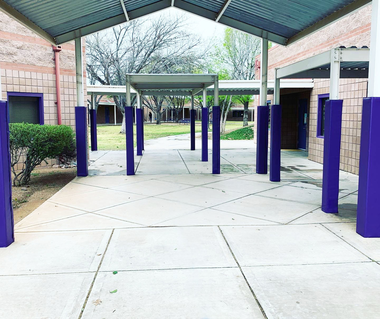 School Courtyard outdoor pole square pole pad - purple