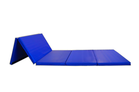 Blue folding floor athletic mat for gymnastics, cheerleading, stretching, and yoga