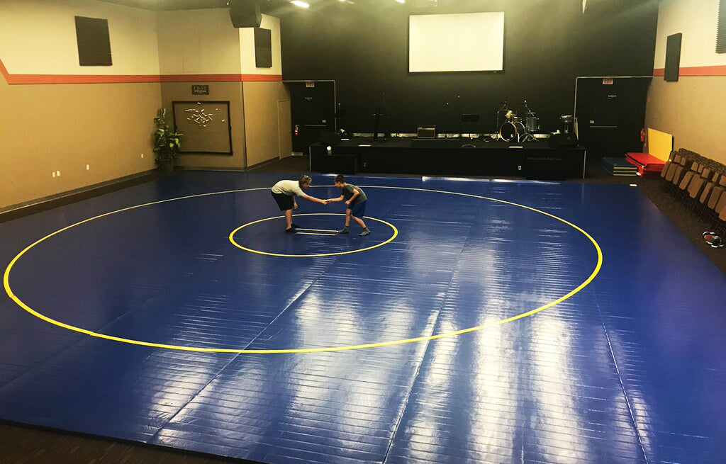 Large Competition Wrestling Mat Blue With Yellow Circles - NCAA