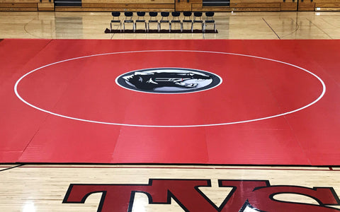 Red High School Competition Wrestling Mat With Custom Graphics Digitally Printed
