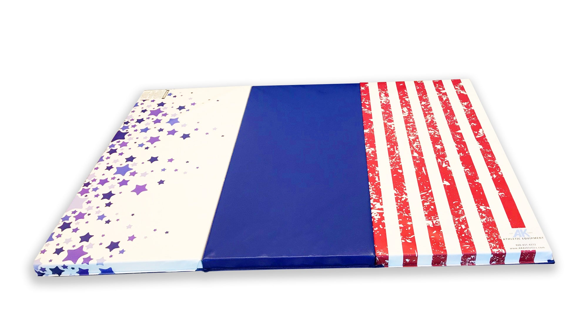 "CLEARANCE LOWEST PRICE OF THE YEAR Red White and Blue 4' x 6' x 2"" Intermediate Level Folding Gymnastics Mat"