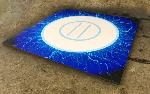 "Quick Ship 8' x 8' x 1 3/8"" Digital Print Blue Lightning Roll-Up Wrestling Mat"