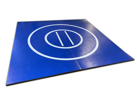 blue and white mma mat, blue and white wrestling mat