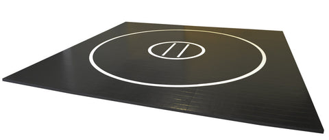 AK Athletic Equipment 17' Black Wrestling Mat with White Circles and Starting Lines