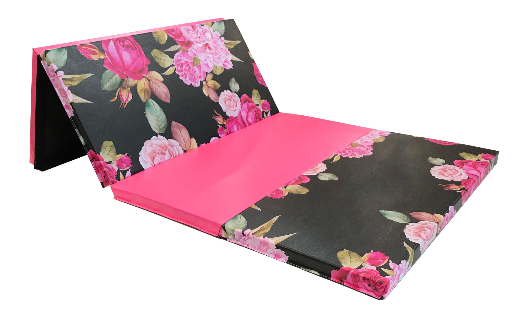 Black and Pink Peony 4' x 8' Folding Gymnastics Mat