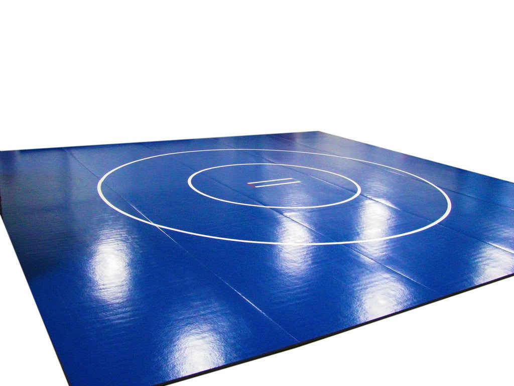 """10/' X 10/' X 1 5//8/"""" NAVY WRESTLING MAT W// CIRCLE /& STARTING LINES ROLL OUT MAT"""