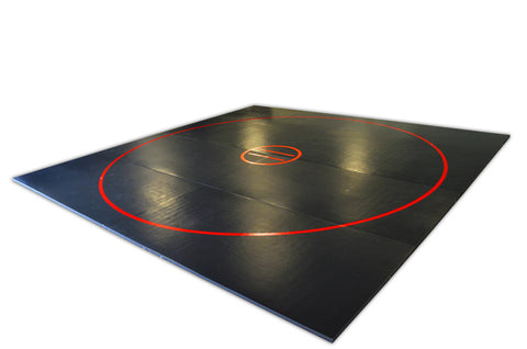 AK Athletic Wrestling Floor Mat Black with Red Circles