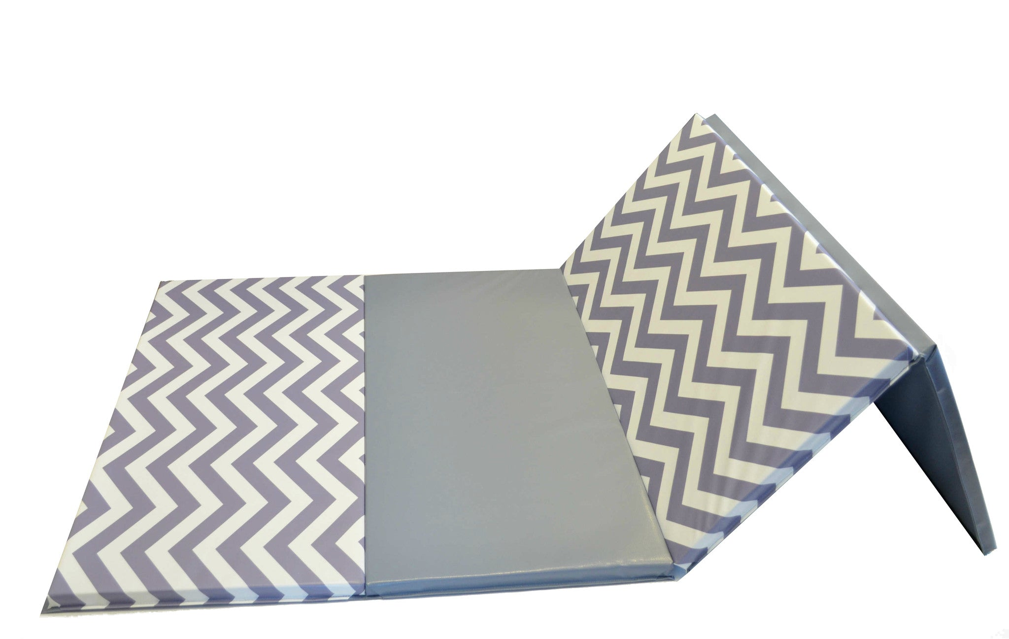 8' folding gymnastics mat chevron gray white