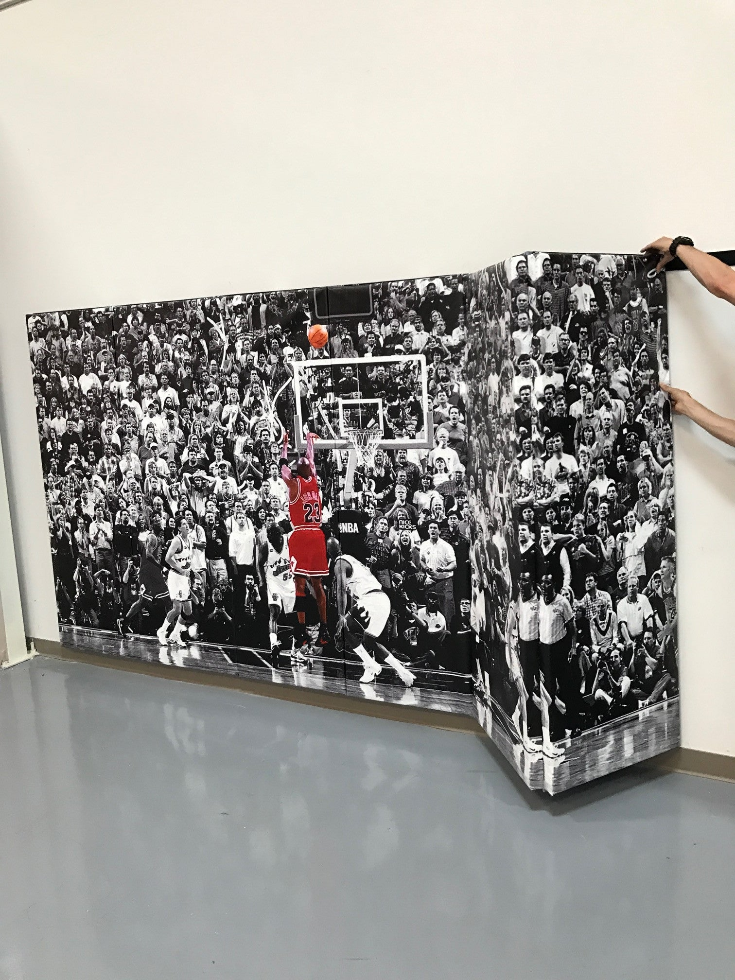 "Digitally Printed 6' x 12' x 2"" Removable Folding Gym Wall Pad"