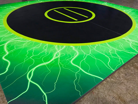 "Quick Ship 10' x 10' x 1 3/8"" Digital Print Lime Lightning Roll-Up Wrestling Mat"
