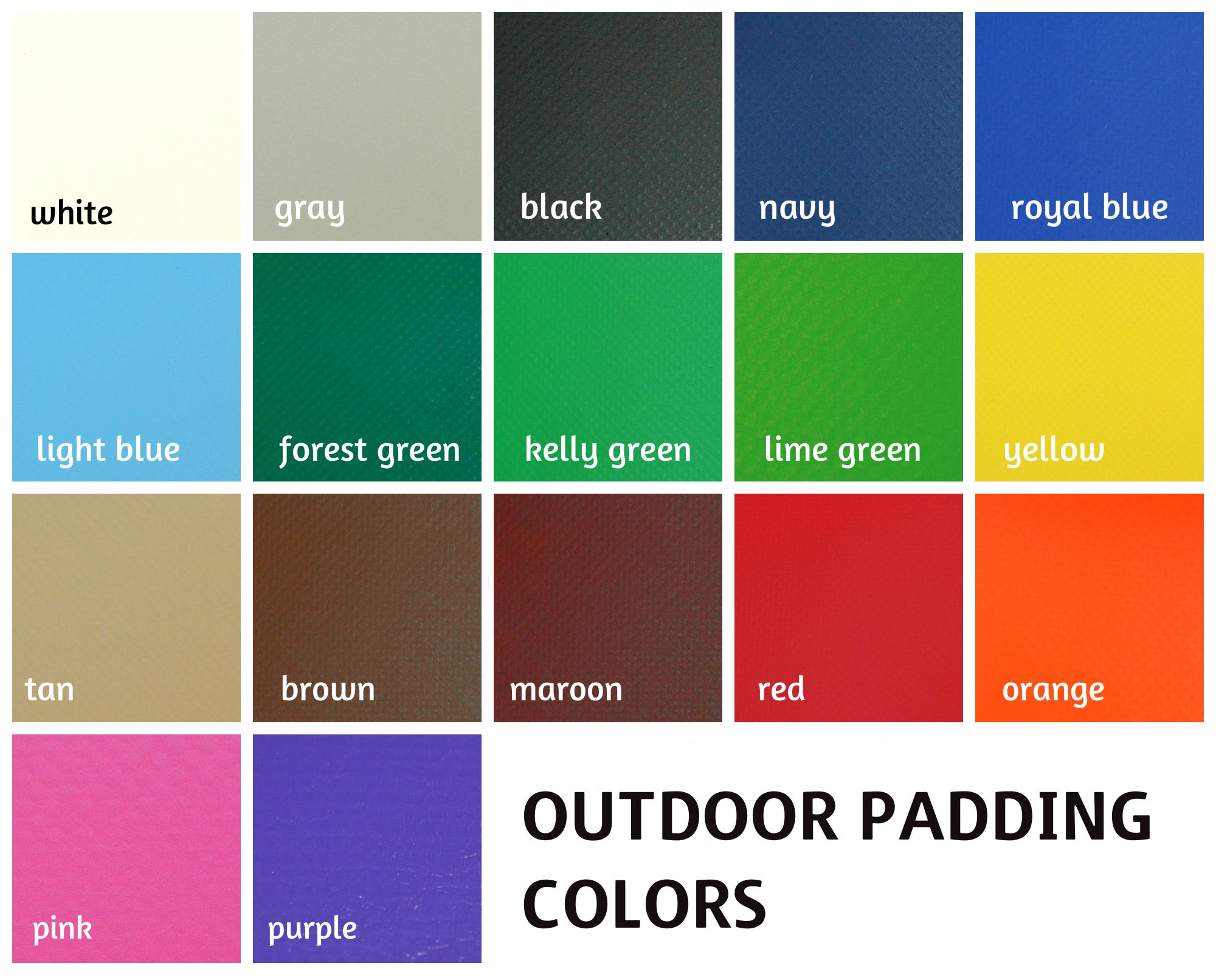 Outdoor padding color chart
