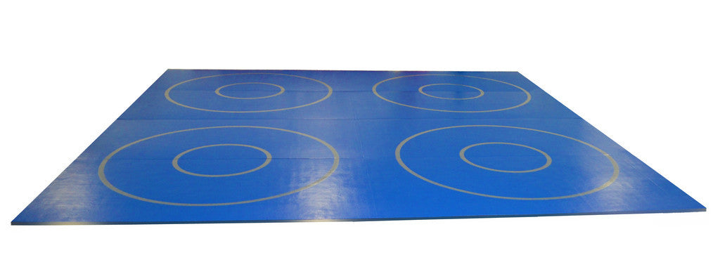 "20' x 20' x 1 3/8"" Roll-Up Wrestling Mat with Four Practice Circles"