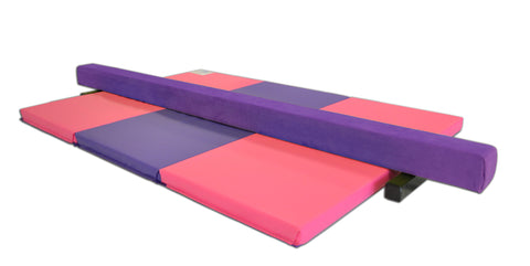 gymnastics balance beam and folding mat combo package