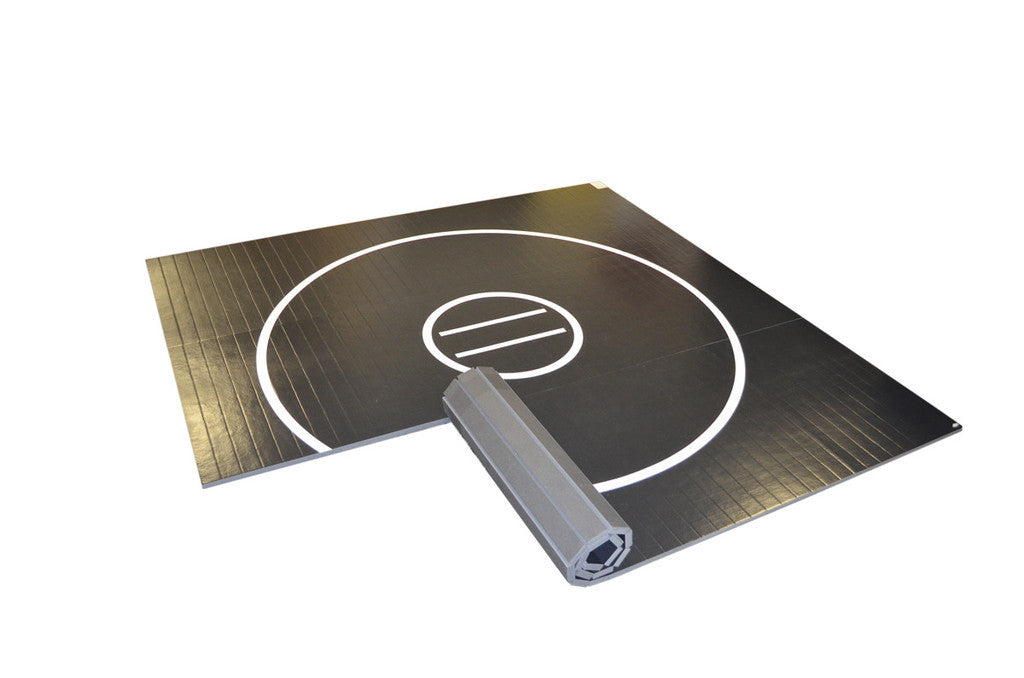 AK Athletics rollup wrestling mat black 15 foot light weight grappling mat