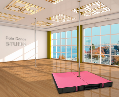 Pink pole dance fitness mat
