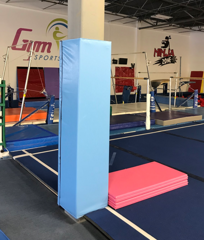 gymnastics light blue square pole pad