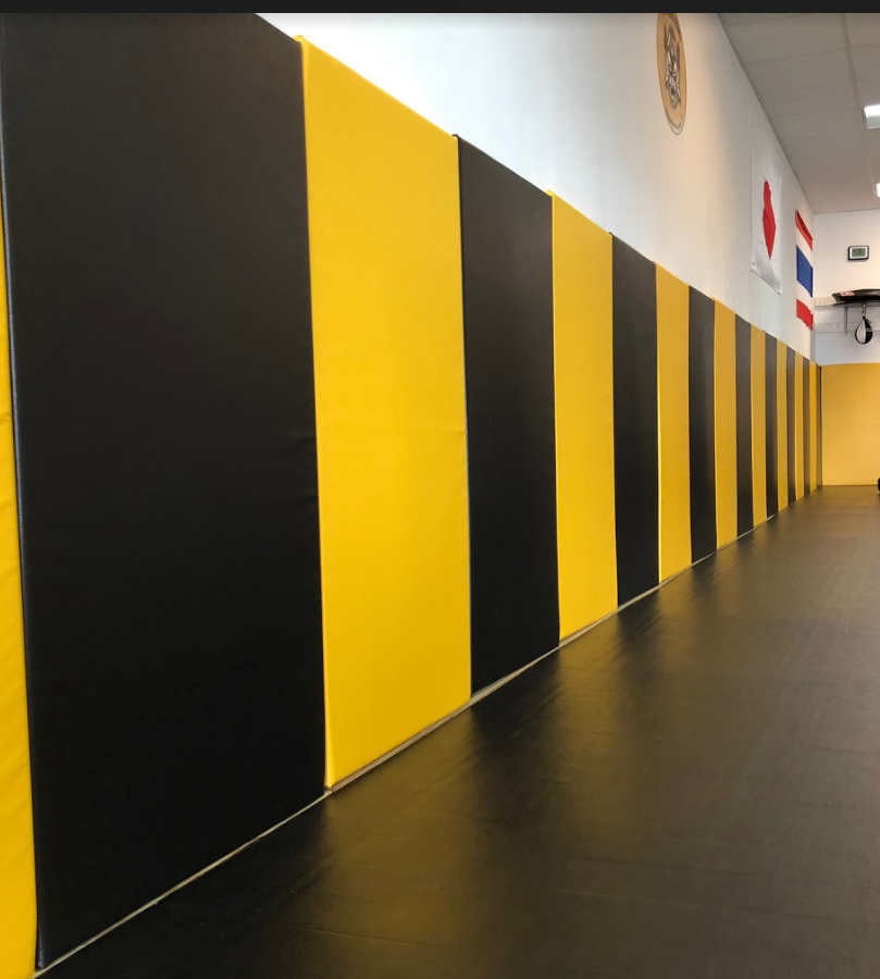 Black and yellow removable wall pads for renting martial arts gym