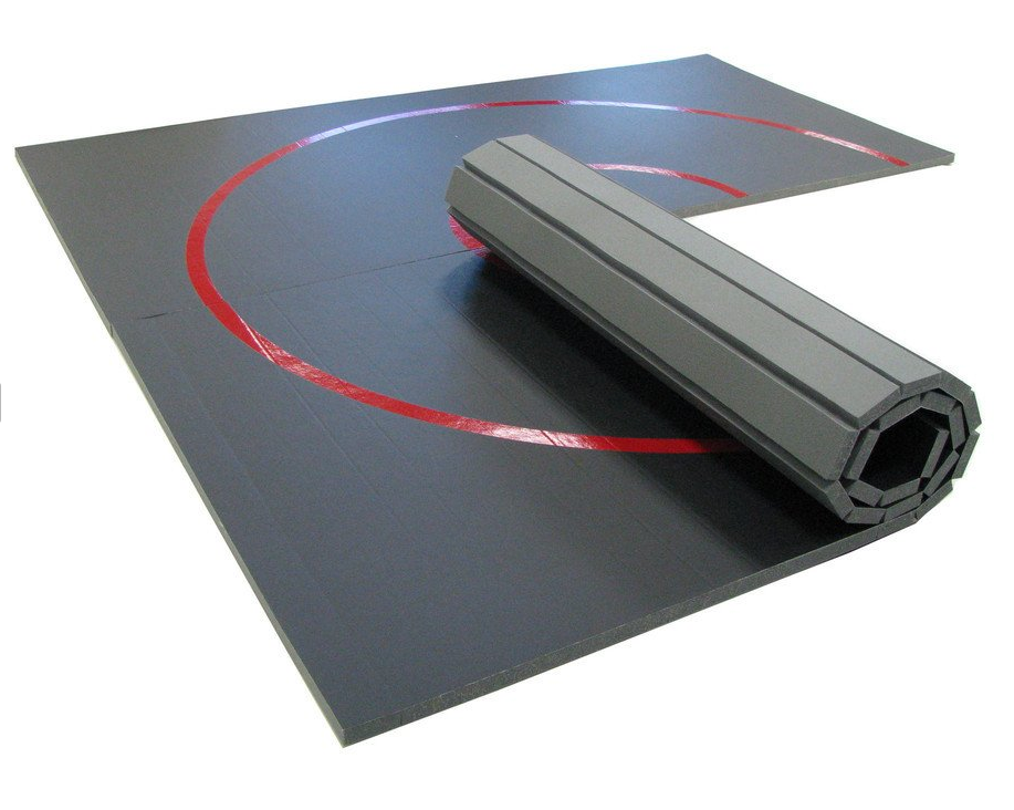 Roll-Up Floor Mat Gray with Red Circles
