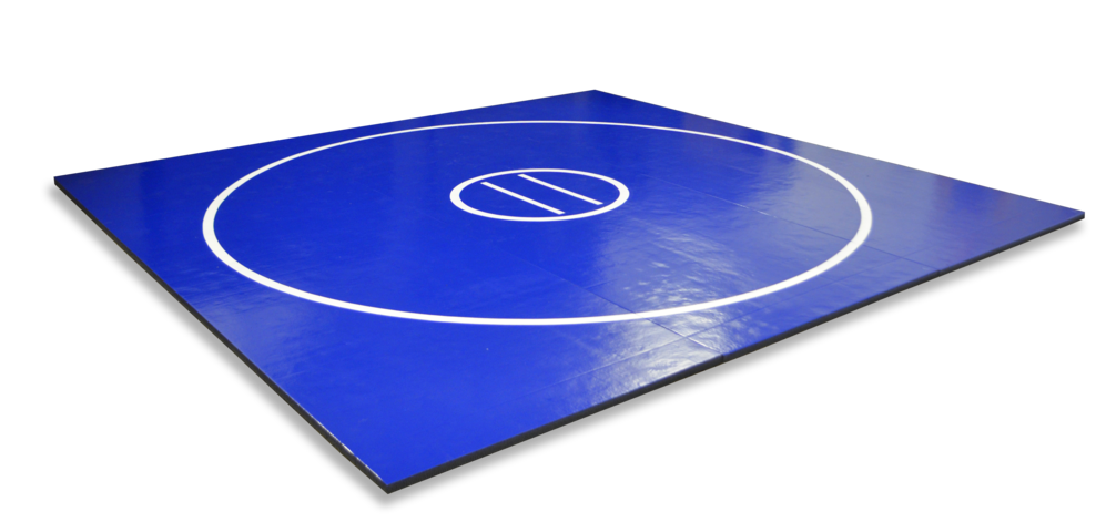 Blue wrestling mat with white circles and starting lines
