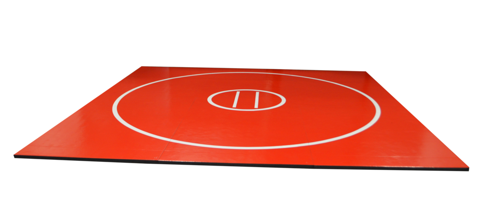 Red wrestling athletic sports mat