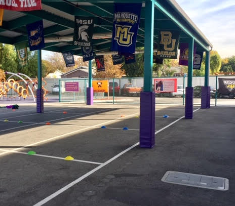 outdoor playground pole padding purple for sale