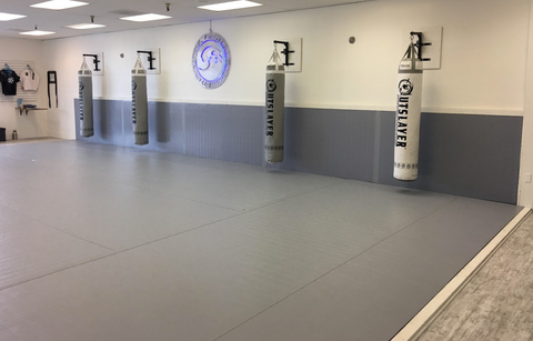 Grey mixed martial arts gym with boxing bags and wall safety mats