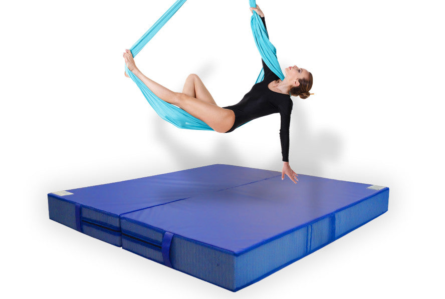 Blue folding aerial arts crash mat, acrobatics mat, landing mat, blue crash pad
