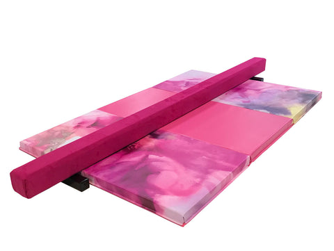 Pink Watercolor Gymnastics Balance Beam and Folding Mat Combo Package