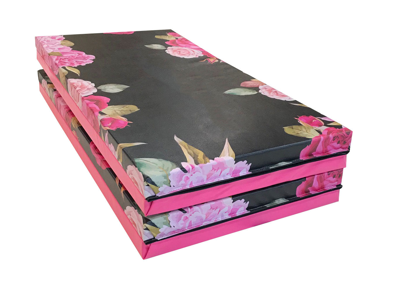 4 panel pink and black flower gymnastics mat