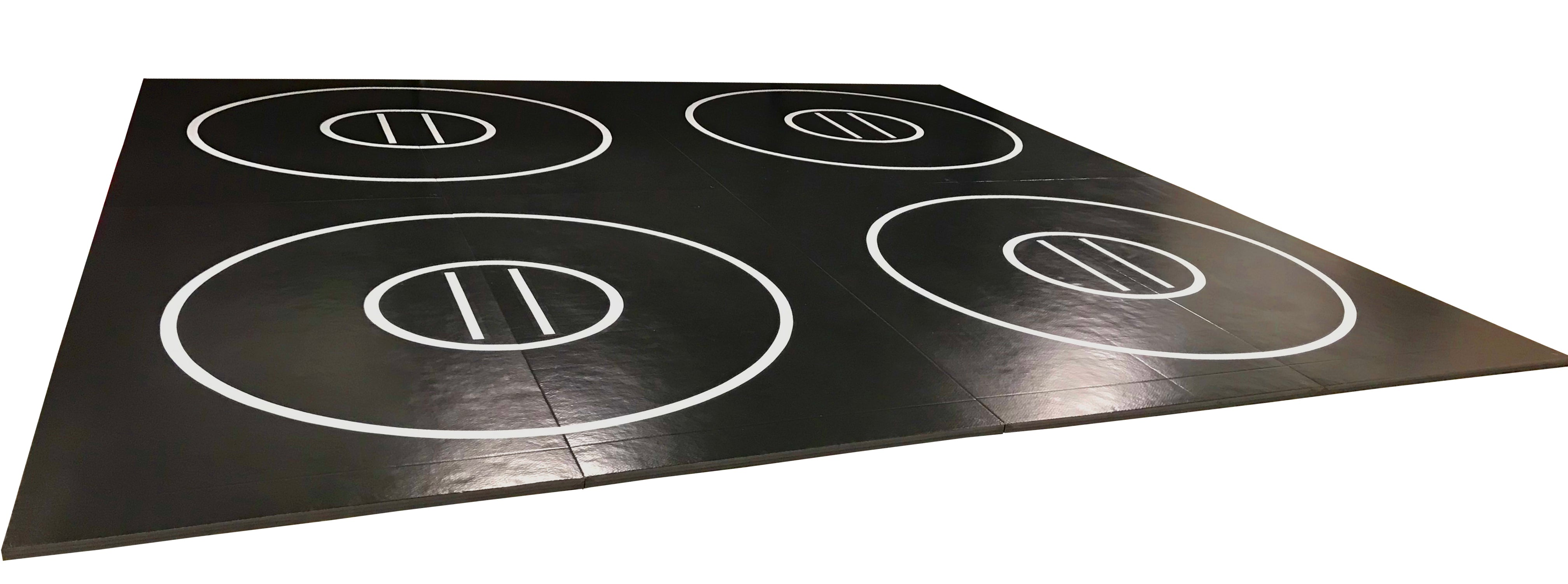 "Black and Red 8 section 20' x 20' x 1 3/8"" Roll-Up Wrestling Mat with Four Practice Circles"