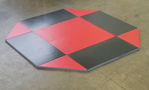 8' x 8' remnant octagon wrestling mat Black and Red Vinyl