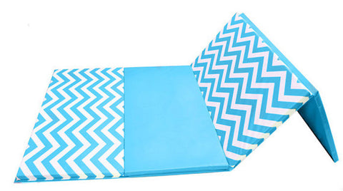 "Clearance Chevron Zigzag 4' x 8' x 2"" Intermediate Level Folding Gymnastics Mat"