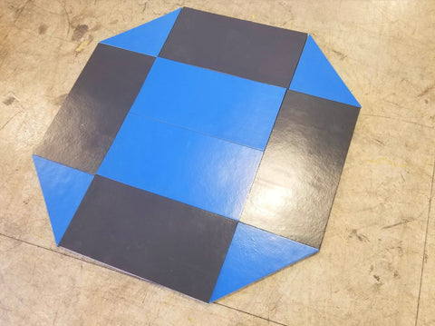 8' x 8' remnant octagon wrestling mat Black and Blue