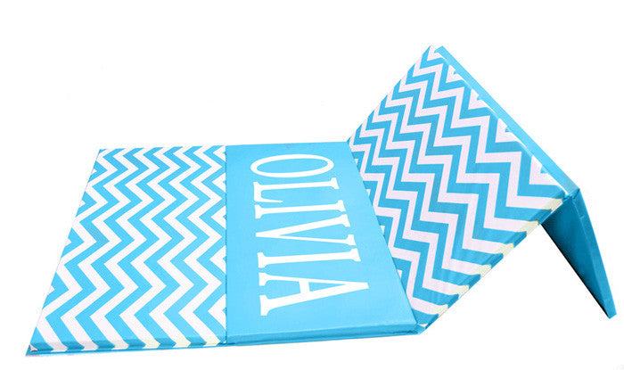 Blue and White Folding Chevron Mat AK Athletics Gymnastics Mat