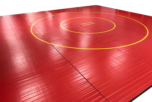 """Vinyl Floor Mats >> Factory Markdown Clearance Red 30' x 30' x 1 3/8"""" Roll-Up Wrestling Ma 