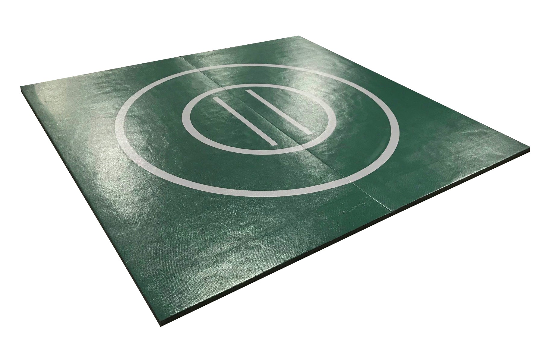 "8' x 8' x 1 3/8"" Forest Green and Gray Roll-Up Wrestling Mat"