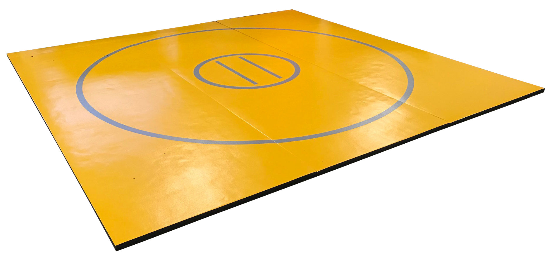 "12' x 12' x 1 3/8"" Gold and Gray Roll-Up Wrestling Mat"
