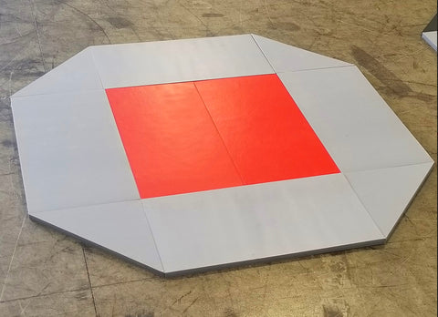 8' x 8' remnant octagon wrestling mat Gray and Red Vinyl