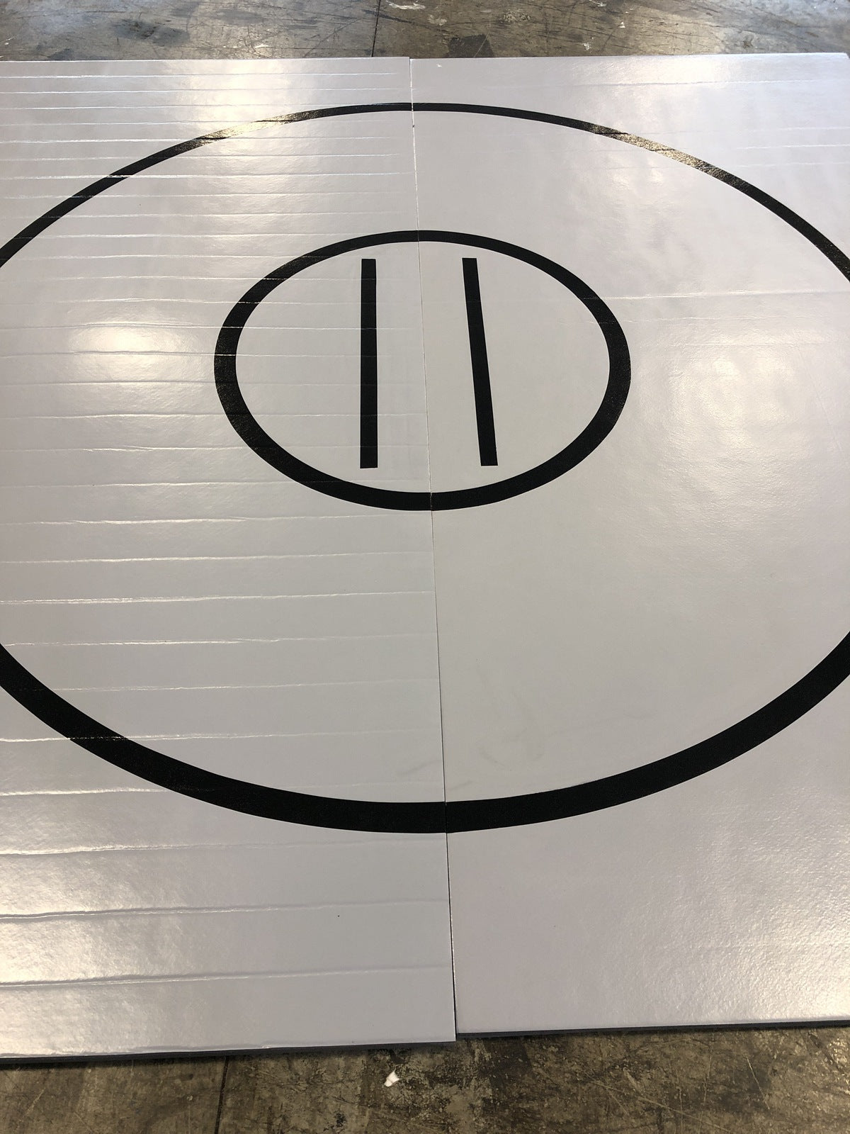 "Remnant  117"" x 10' x 1 3/8"" Roll-Up WRESTLING MAT Mat Gray with black circles and starting lines"