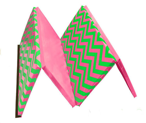 "Chevron Zigzag 4' x 8' x 1 3/8"" Advanced Level Folding Gymnastics Mat Pink and Green"