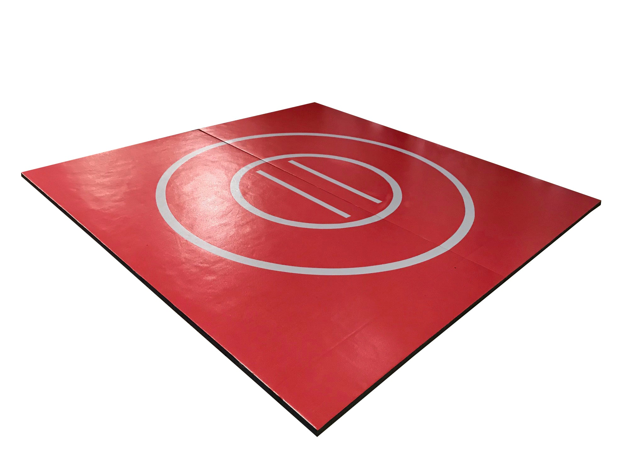 "8' x 8' x 1 3/8"" Maroon and Gray Roll-Up Wrestling Mat"