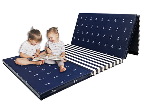 "Limited edition! Navy and White Nautical 4' x 8' x 2"" Intermediate Level Folding Gymnastics Mat"