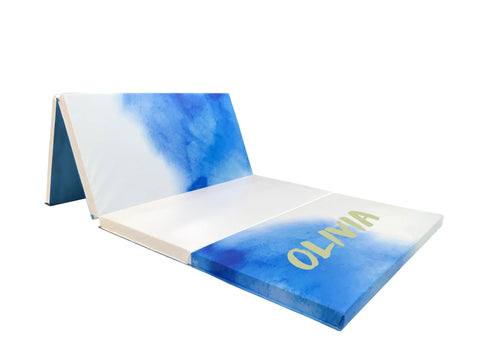 Blue watercolor design folding athletic mat with monogram name