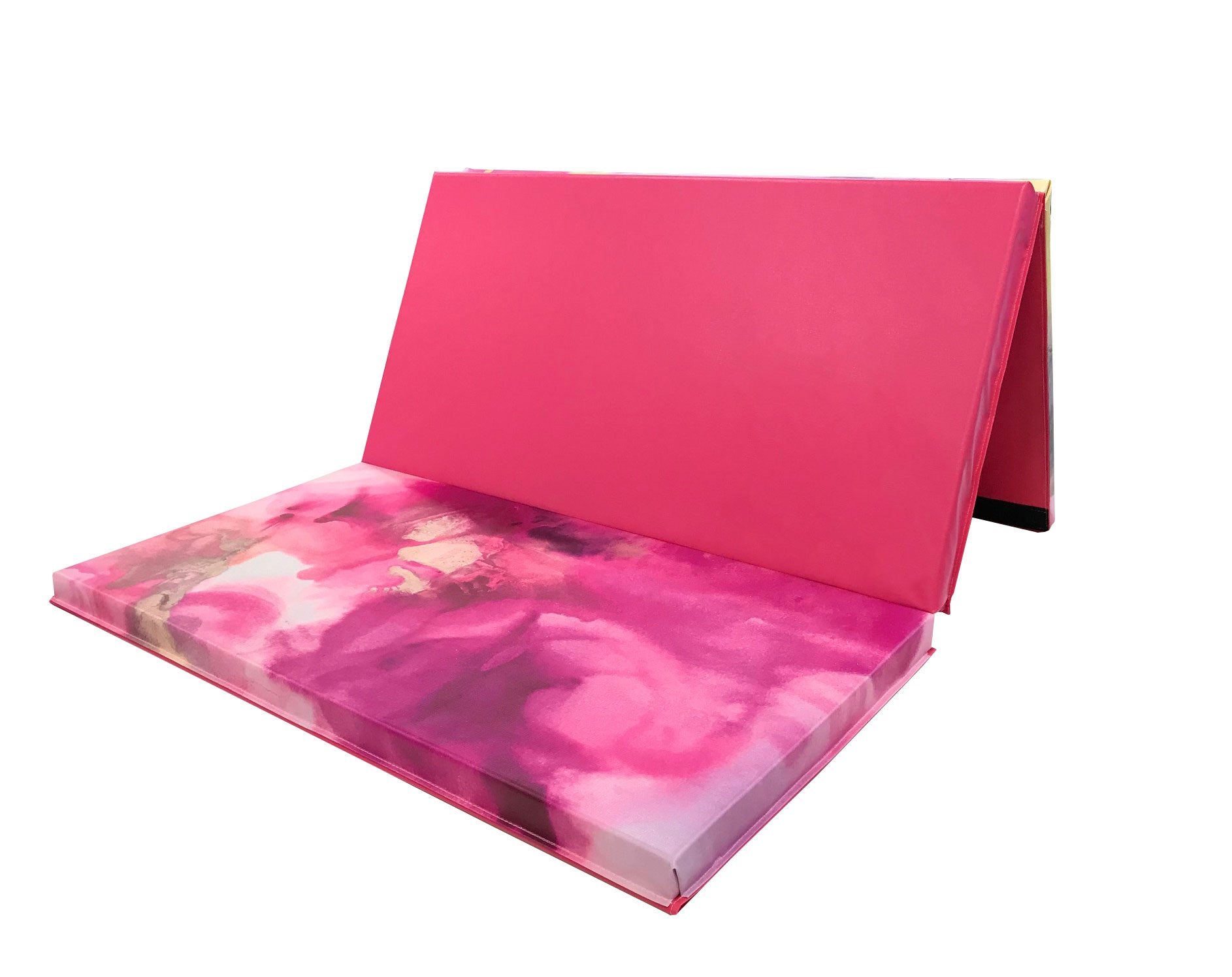 pink folding gymnastics mat, pink gym mat