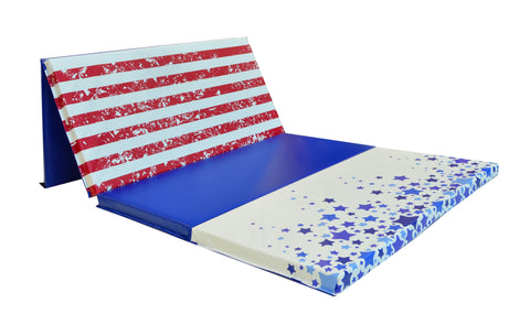 "Red White and Blue Allstar 4' x 8' x 2"" Intermediate Level Folding Gymnastics Mat"