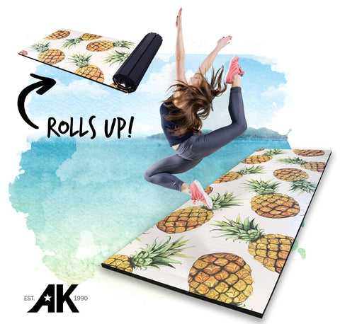 "Roll Up Pineapple Print 4' x 12' x 1 3/8"" Advanced Level Gymnastics Mat"
